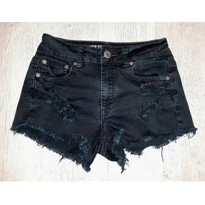 American Eagle Distressed Black Denim Shorts